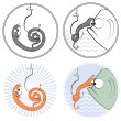 Fishing worm and fish underwater.Cartoons icons. - Stock Photo