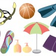 Vector things for summer holiday — Stok fotoğraf