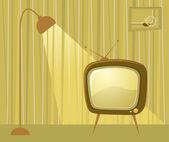 Retro room and TV. Vector . — Stock Photo