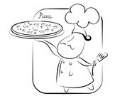 Pizza and chef — Stock Photo