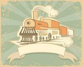 Locomotive.Vintage style. — Stock Photo