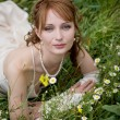 Bride on grass — Stock Photo