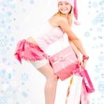 ajudante de Papai Noel com presentes — Foto Stock