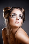 Make-up and hairstyle for carnival — Stock Photo