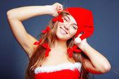 Cheerful mrs. Santa — Stock Photo