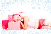 Sleeping santa helper — Stock Photo