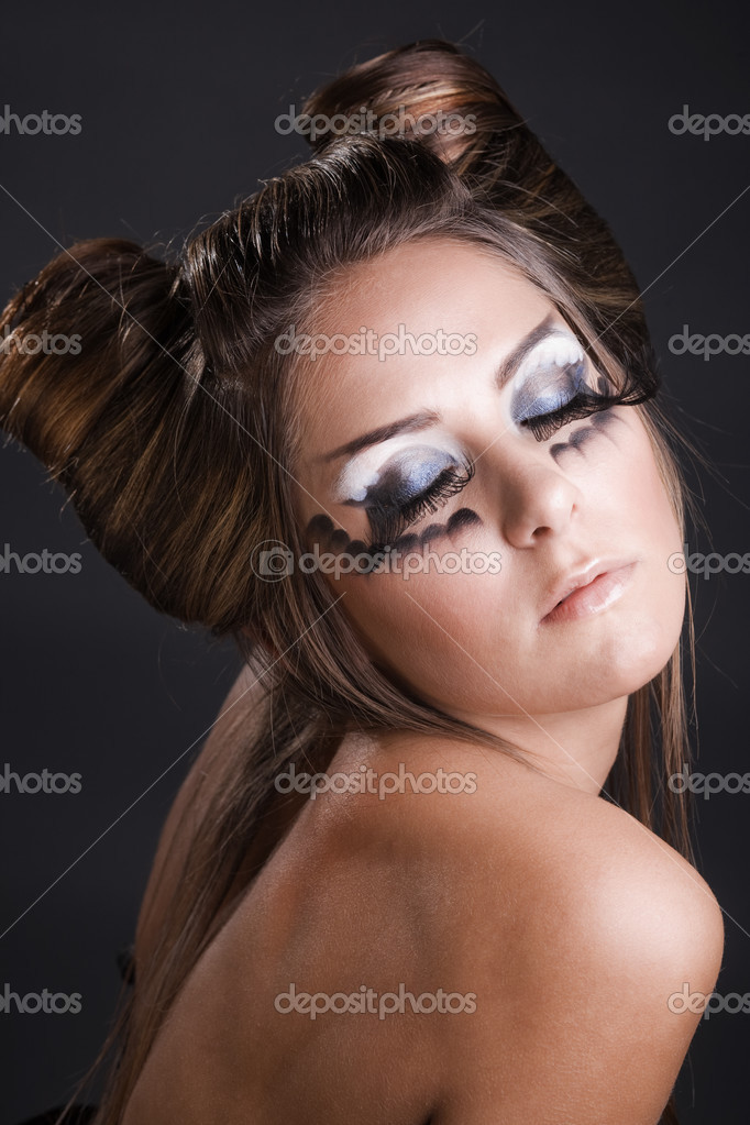 Make-up and hairstyle for carnival — Stock Photo ...