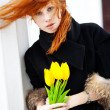 Girl with tulips — Stock Photo #2761398