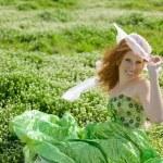 Girl resting in grass — Stock Photo