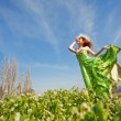 Beautiful woman on meadow — Stock Photo