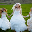 Running brides — Stock Photo