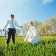 Walking bride and groom — Stock Photo