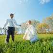 Stock Photo: Walking bride and groom