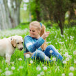 Woman with girl and dog — Stock Photo #2768234