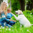 Woman with girl and dog - Stock Photo