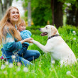 woman with girl and dog — Stock Photo #2768295