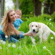 woman with girl and dog — Stock Photo #2768305