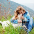 Stock Photo: Girl with her dog