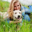 Girl with her dog — Stock Photo #2768417