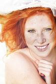 Sunny portrait if redhead — Stock Photo