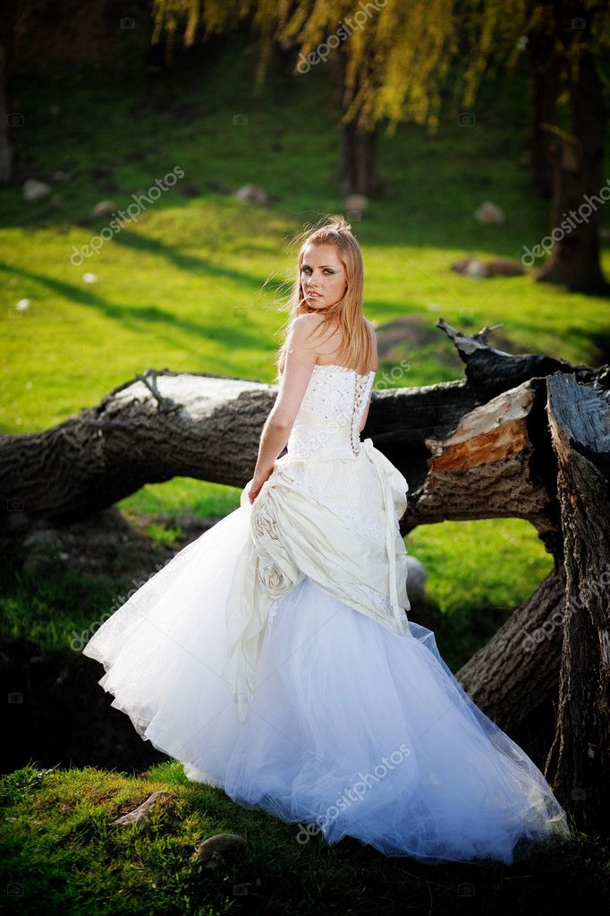 Bride wearing beautiful wedding dress outdoors — Stock Photo #2767071
