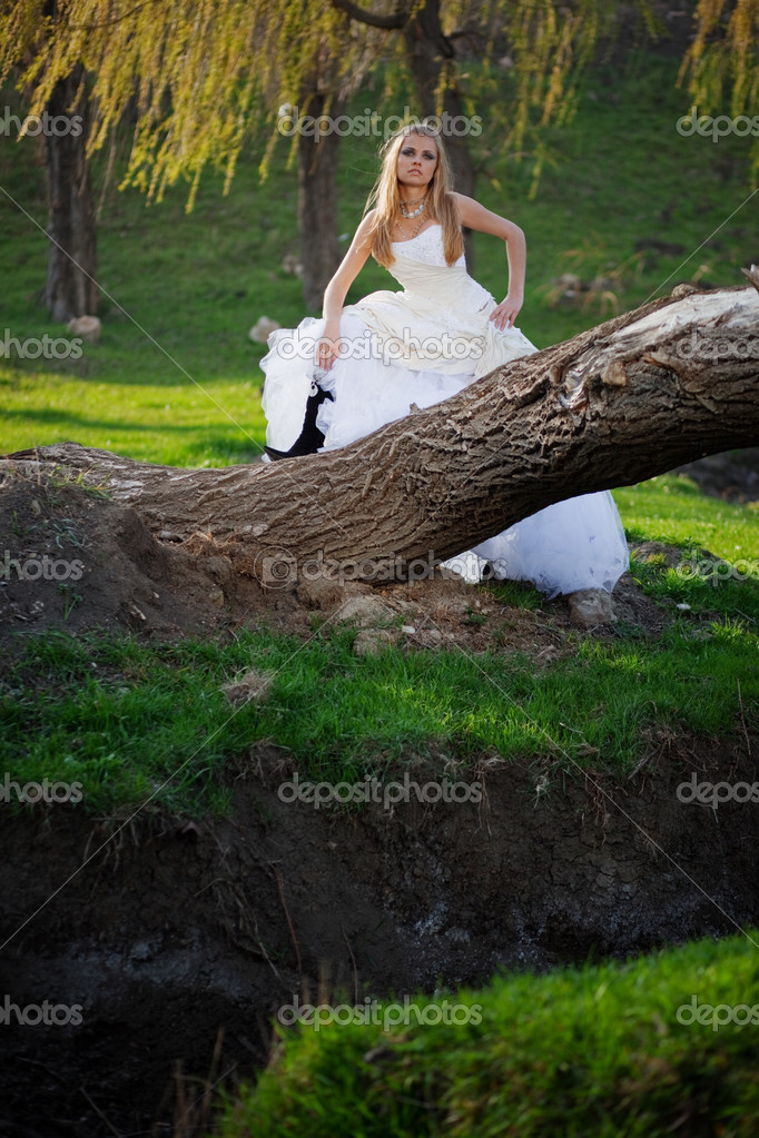 Bride wearing beautiful wedding dress outdoors — Stock Photo #2767093