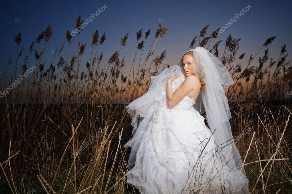 Bride posing showing her wedding dress in rush brushwood — Stock Photo #2768012