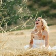Bride in hay stack - Stock Photo