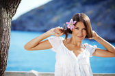 Beautiful female in summer vacation — Stock Photo