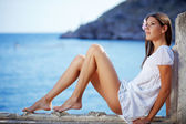 Beautiful female with slim legs — Stok fotoğraf