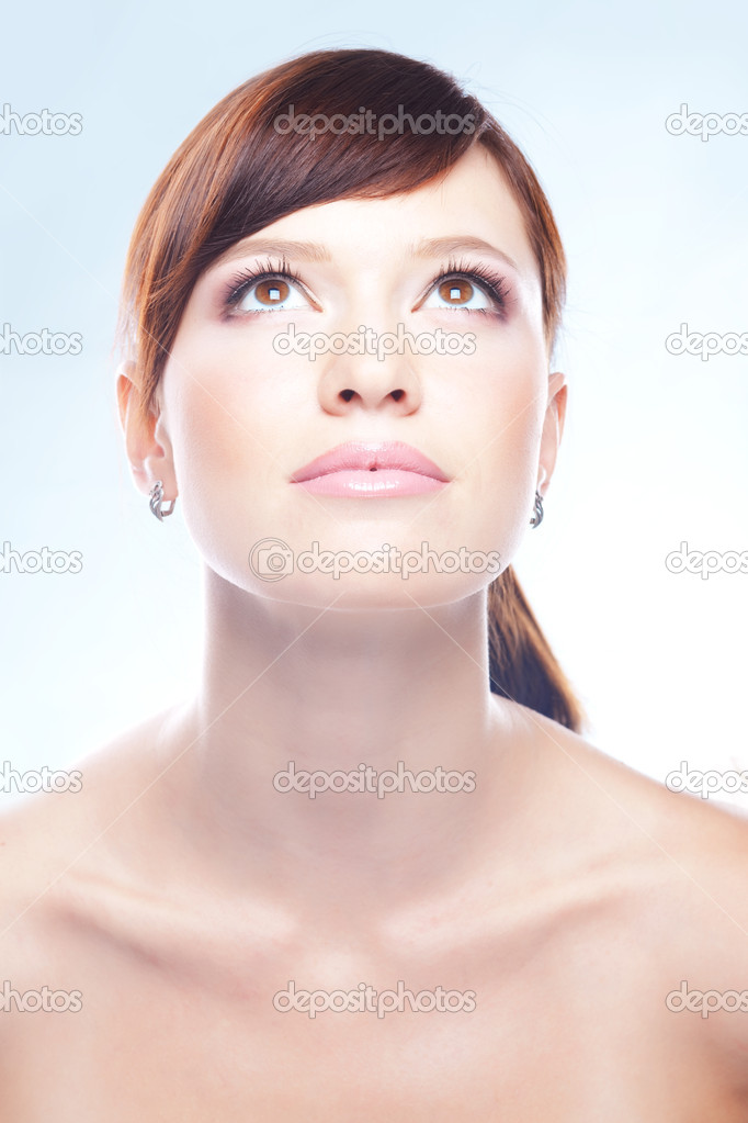 Closeup portrait of young beautiful female  Foto de Stock   #2772635