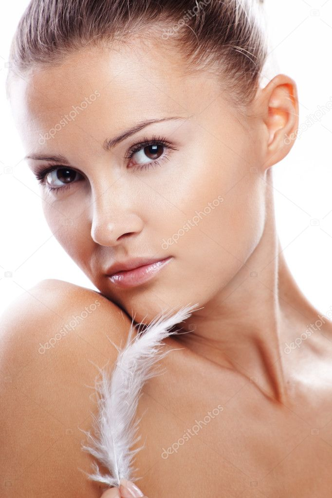 Beautiful female with clean healthy skin closeup over white  Stock Photo #2775151