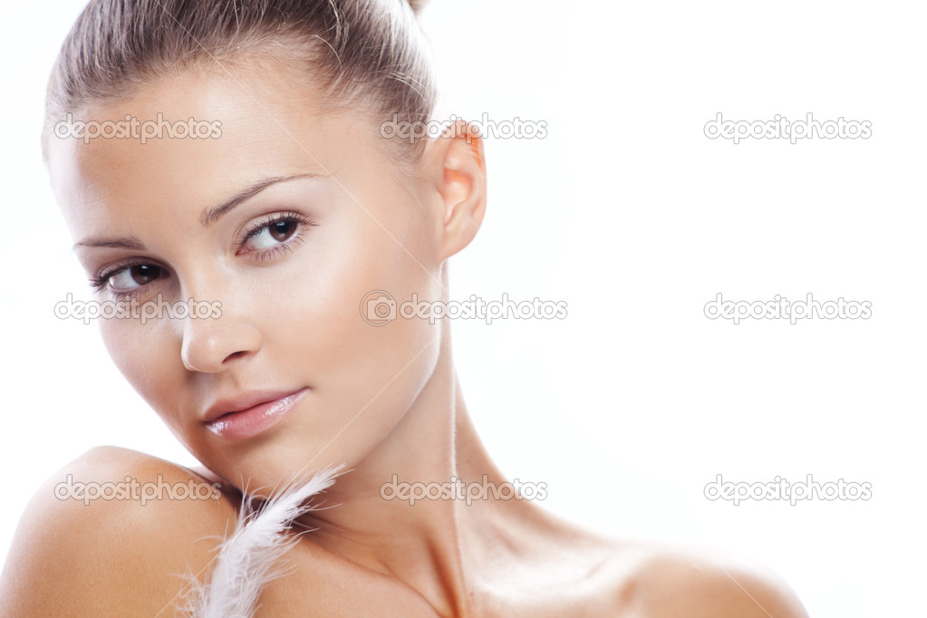 Beautiful female with clean healthy skin closeup over white  Stock Photo #2775154