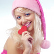 Stock Photo: Very cute Santa girl