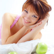 Cute teenage girl with apples — Stock Photo #2784021