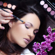 Make-up artist making eye visage to beautiful woman — Stock Photo #2784169