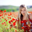 Girl in poppy field — Stock fotografie
