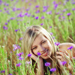 Stock Photo: Girl in floral field