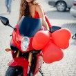 Fashion model on motorcycle — Stock Photo #2786843