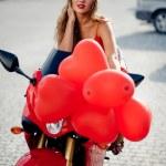 Fashion model on motorcycle — Stock Photo #2786846