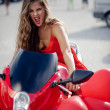 Fashion model on motorcycle — Stock Photo #2786849
