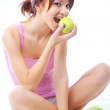 Stock Photo: Cute teenage girl with apples