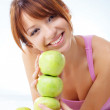 Cute teenage girl with apples — Stock Photo #2787960