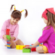 Stock Photo: Kids playing with constructor