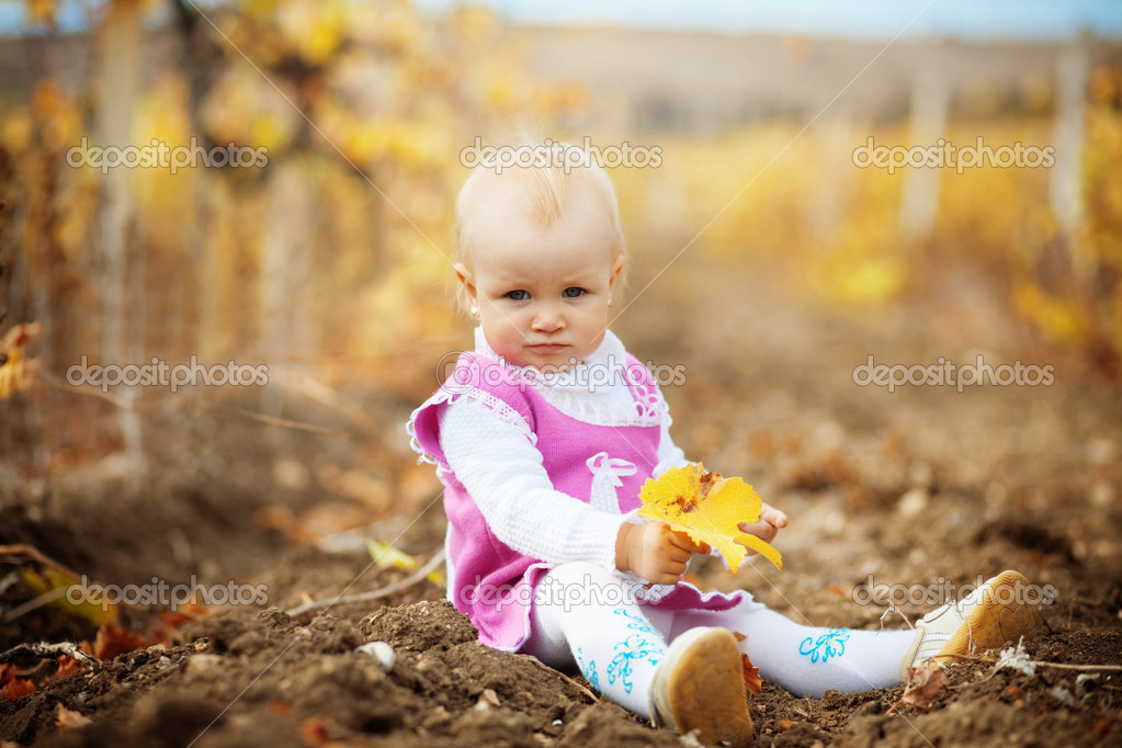 Portrait of little cute child in autumn — Stock Photo #2780387