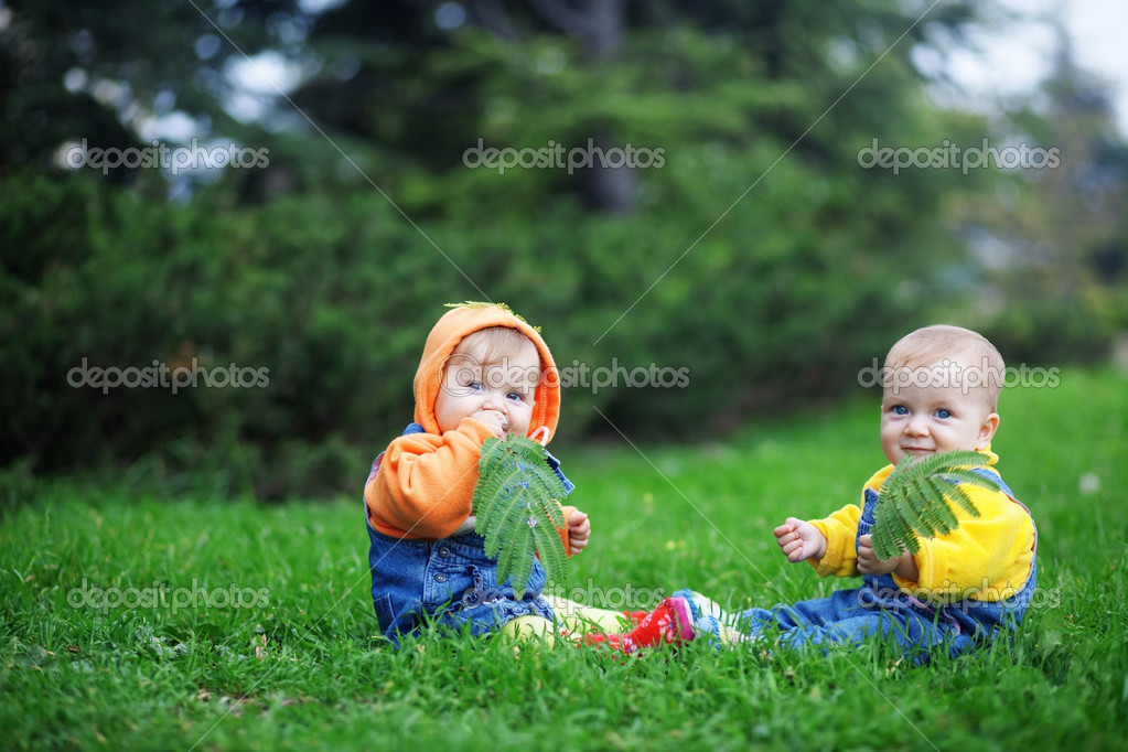 Cute twins babies sitting on fresh green grass in park — Stock Photo #2780566