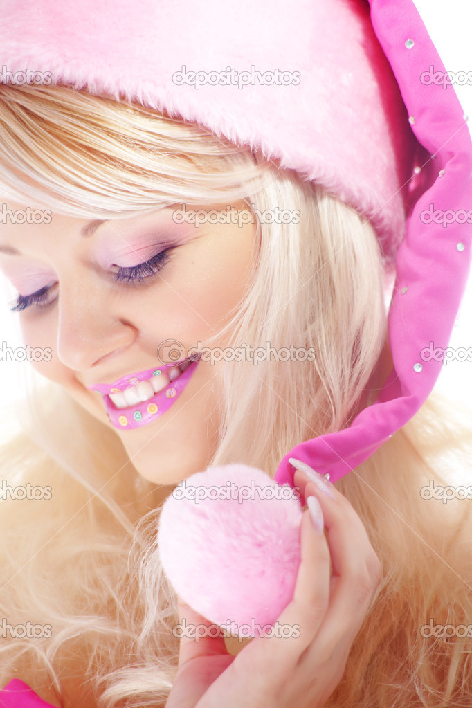 Studio portrait of very cute Santa helper — Stock Photo #2782815