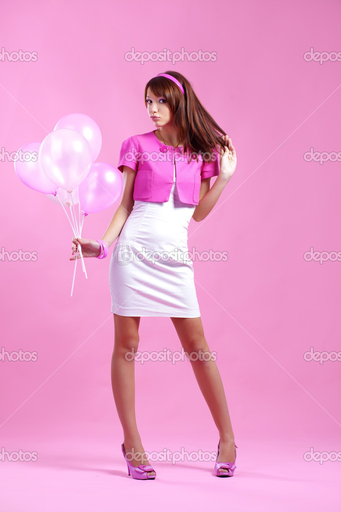 Girly with balloons during summer facebook cover picture