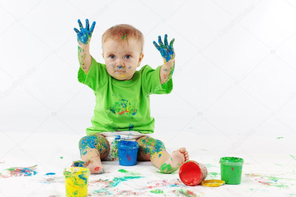 Funny baby painter on white background — Stock Photo #2784326