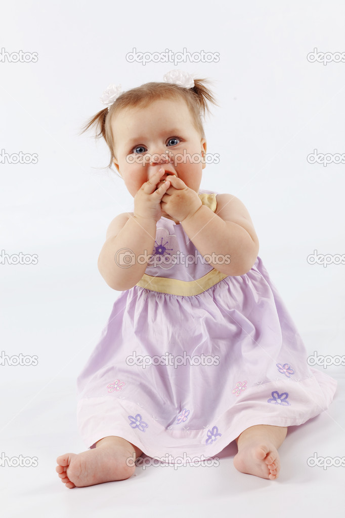 Portrait of cute little baby girl over white — Stock Photo #2788292